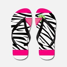 Pink Cocktail on Zebra Stripes Flip Flops