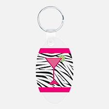 Pink Cocktail on Zebra Stripes Keychains