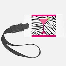 Pink Cocktail on Zebra Stripes Luggage Tag