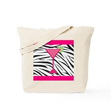 Pink Cocktail on Zebra Stripes Tote Bag