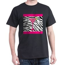 Pink Cocktail on Zebra Stripes T-Shirt