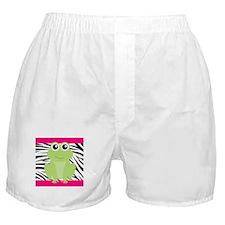 Frog on Pink and Black Zebra Stripes Boxer Shorts