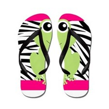 Frog on Pink and Black Zebra Stripes Flip Flops