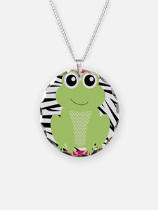 Frog on Pink and Black Zebra Stripes Necklace