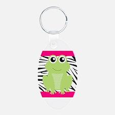 Frog on Pink and Black Zebra Stripes Keychains