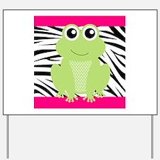 Frog on Pink and Black Zebra Stripes Yard Sign