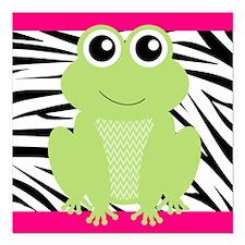 Frog on Pink and Black Zebra Stripes Square Car Ma