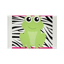 Frog on Pink and Black Zebra Stripes Magnets