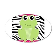Frog on Pink and Black Zebra Stripes Wall Decal