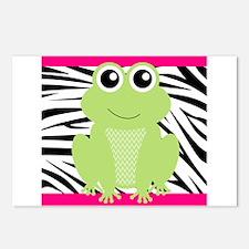 Frog on Pink and Black Zebra Stripes Postcards (Pa