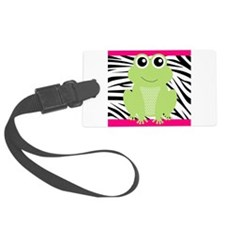 Frog on Pink and Black Zebra Stripes Luggage Tag