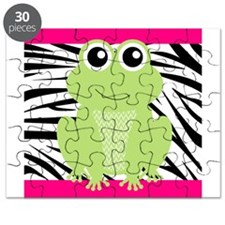 Frog on Pink and Black Zebra Stripes Puzzle