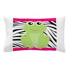 Frog on Pink and Black Zebra Stripes Pillow Case