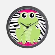 Frog on Pink and Black Zebra Stripes Wall Clock