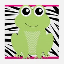 Frog on Pink and Black Zebra Stripes Tile Coaster