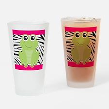 Frog on Pink and Black Zebra Stripes Drinking Glas