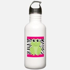 Frog on Pink and Black Zebra Stripes Water Bottle