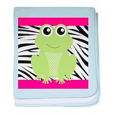 Frog on Pink and Black Zebra Stripes baby blanket