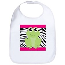 Frog on Pink and Black Zebra Stripes Bib