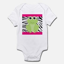 Frog on Pink and Black Zebra Stripes Body Suit