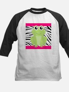 Frog on Pink and Black Zebra Stripes Baseball Jers