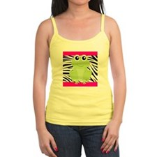 Frog on Pink and Black Zebra Stripes Tank Top