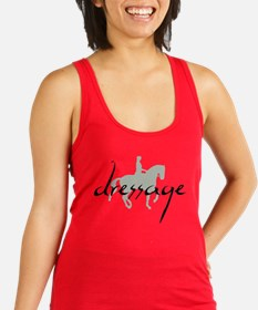Dressage Silhouette Text Racerback Tank Top