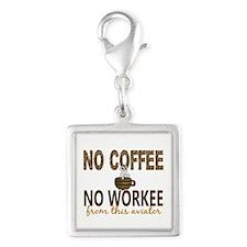 Aviator No Coffee No Workee Silver Square Charm