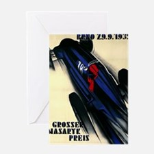 Antique 1935 Czech Grand Prix Racing Poster Greeti