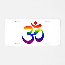 big rainbow om Aluminum License Plate