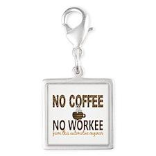 Automotive Engineer No Coffee Silver Square Charm