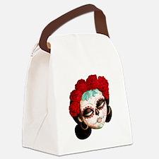 El Dia de Los Muertos Girl Canvas Lunch Bag