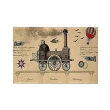 Railway Steampunk Rectangle Magnet Magnets