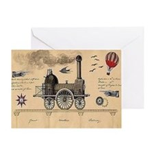 Railway Steampunk Card Greeting Cards