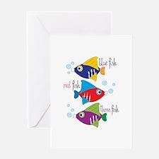 Blue Fish,Red Fish &Three Fish Greeting Cards