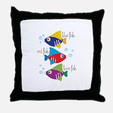 Blue Fish,Red Fish &Three Fish Throw Pillow