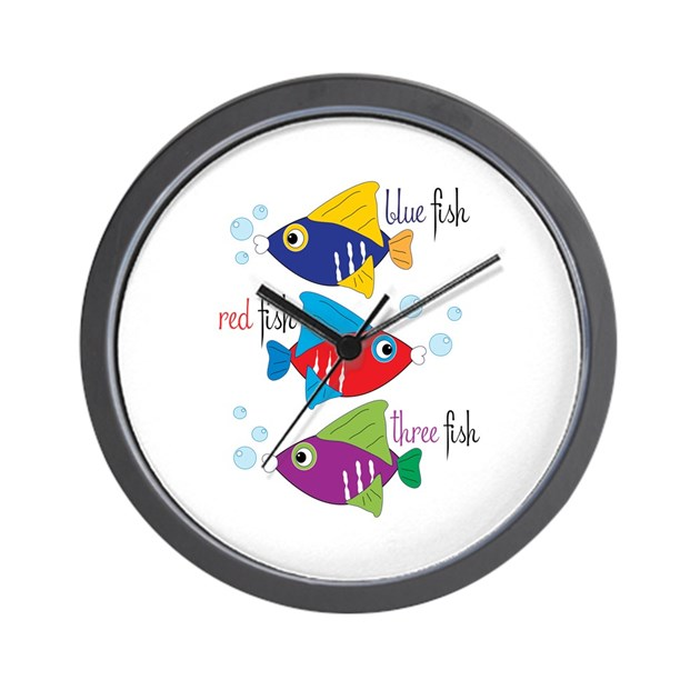 Blue fish red fish three fish wall clock by windmill4 for Fish wall clock
