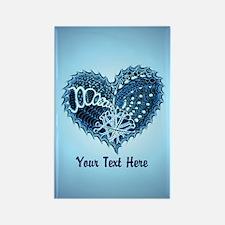 Decorative Heart Blue Customizabl Rectangle Magnet