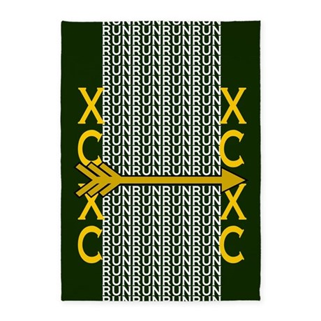 Cross Country Running Green gold 5'x7'Area Rug