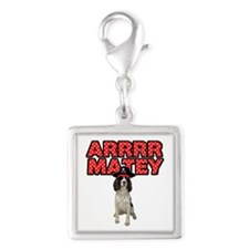 Pirate Springer Spaniel Silver Square Charm