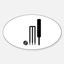 Cricket ball bat stumps Sticker (Oval)