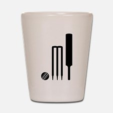 Cricket ball bat stumps Shot Glass