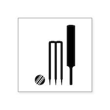 "Cricket ball bat stumps Square Sticker 3"" x 3"""