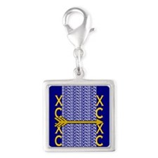 Cross Country Running blue go Silver Square Charm