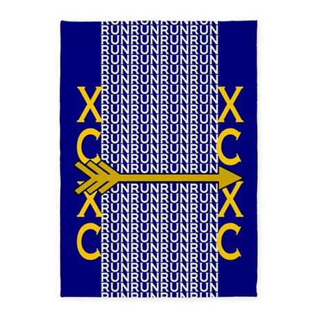 Cross Country Running blue gold 5'x7'Area Rug