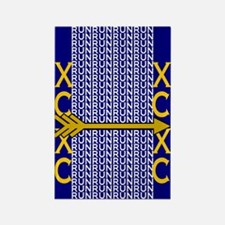 Cross Country Running blue gold Rectangle Magnet