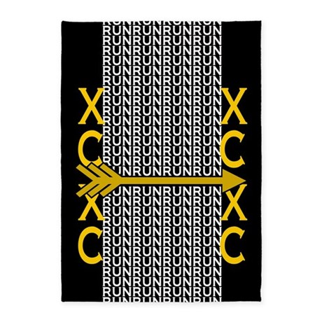 Cross Country Running black gold 5'x7'Area Rug