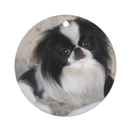 Deluxe Japanese Chin Darling Ornament (Round)