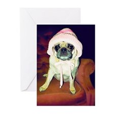 Pug in a Pink Bonnet Greeting Cards (Pk of 10)