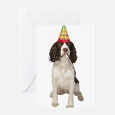 Springer Spaniel Birthday Party Greeting Cards